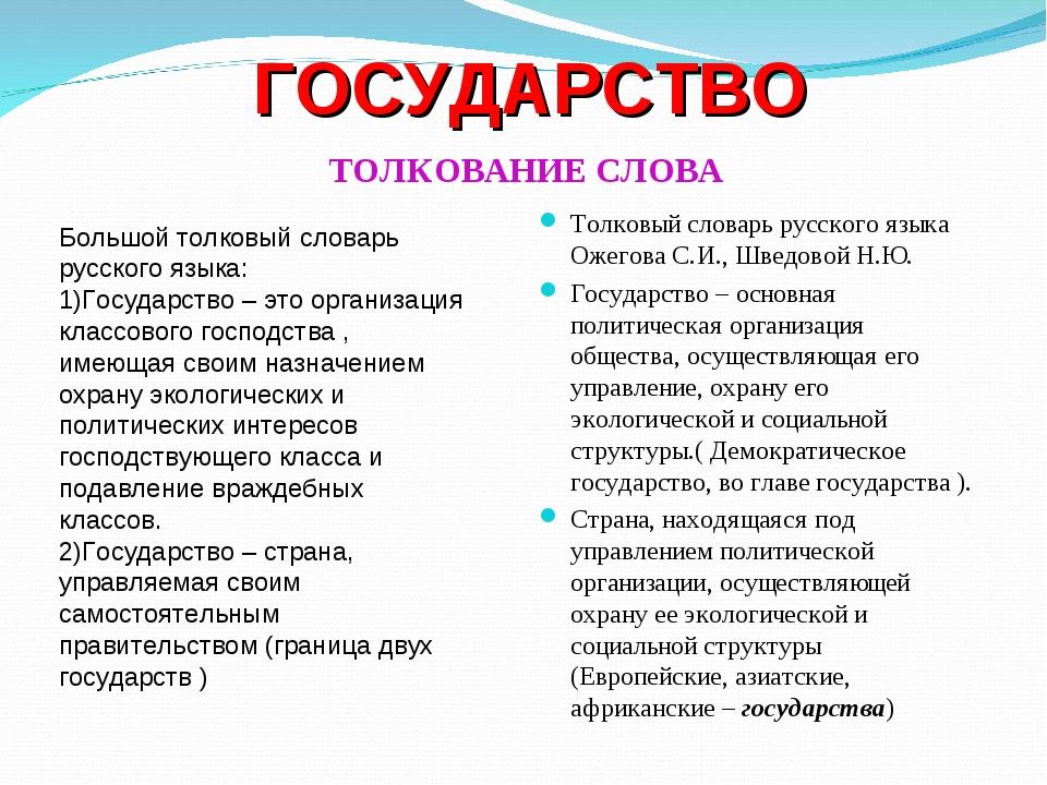 ГОСУДАРСТВО ТОЛКОВАНИЕ СЛОВА Толковый словарь русского языка Ожегова С.И., Ш...