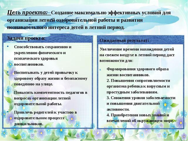 Цель проекта: Создание максимально эффективных условий для организации летне...