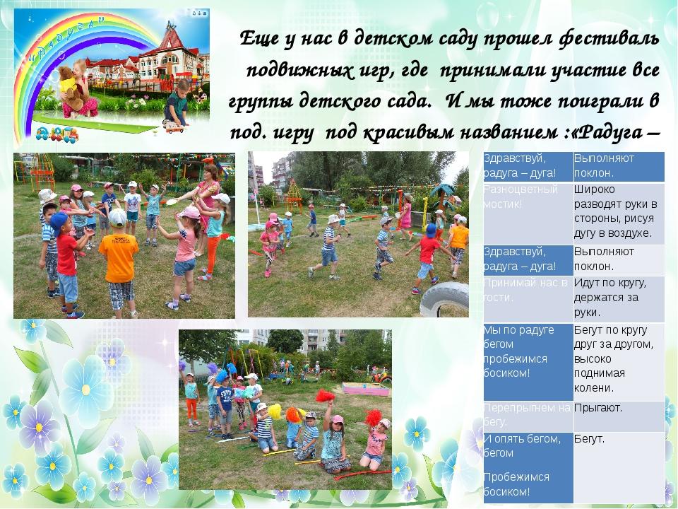 Еще у нас в детском саду прошел фестиваль подвижных игр, где принимали участ...