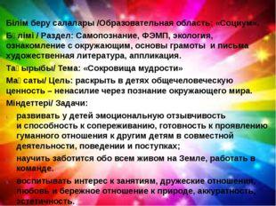 Білім беру салалары /Образовательная область: «Социум». Бөлімі / Раздел: Сам