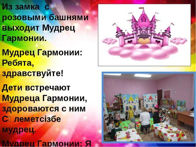 Из замка с розовыми башнями выходит Мудрец Гармонии. Мудрец Гармонии: Ребята,...