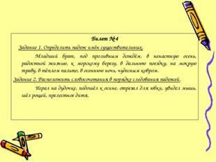 Билет № 4 Задание 1. Определить падеж имён существительных. Младший брат, п