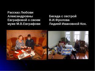 Рассказ Любови Александровны Евграфовой о своем муже М.В.Евграфове Беседа с с