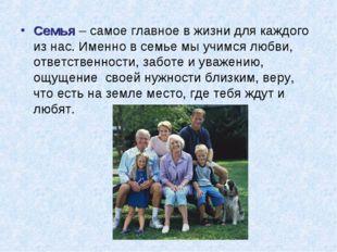Семья – самое главное в жизни для каждого из нас. Именно в семье мы учимся лю