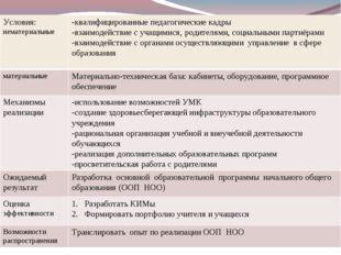 Условия: нематериальные-квалифицированные педагогические кадры -взаимодейств