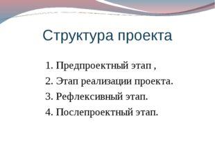 Структура проекта 1. Предпроектный этап , 2. Этап реализации проекта. 3. Рефл