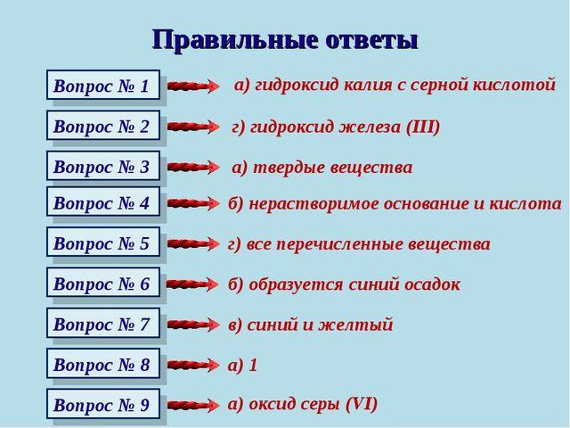 Правильные ответы Вопрос № 1 Вопрос № 2 Вопрос № 3 Вопрос № 4 Вопрос № 5 Вопр...