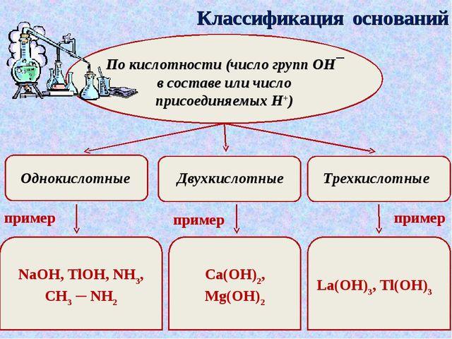 Классификация оснований По кислотности (число групп ОН¯ в составе или число п...