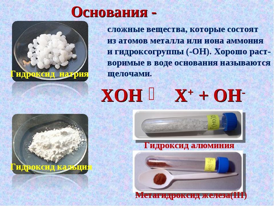 Основания - сложные вещества, которые состоят из атомов металла или иона аммо...