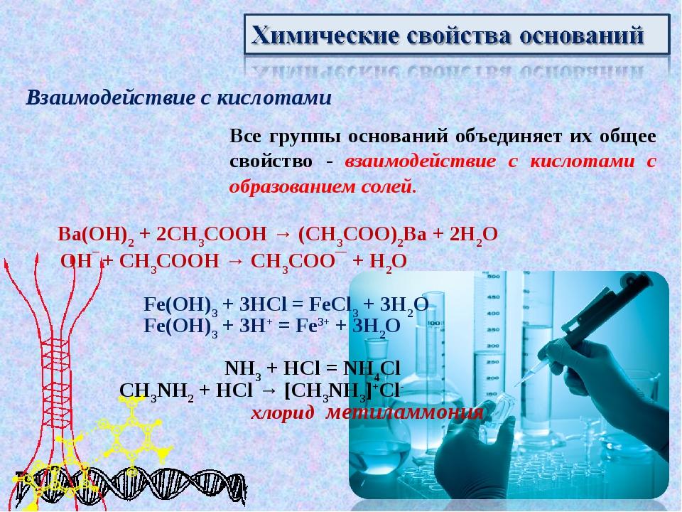 Взаимодействие с кислотами Все группы оснований объединяет их общее свойство...