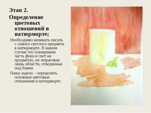 Этап 2. Определение цветовых отношений в натюрморте; Необходимо начинать пис