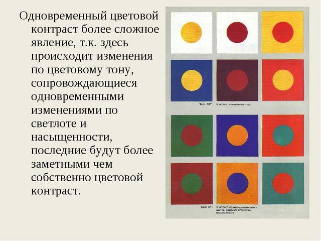 Одновременный цветовой контраст более сложное явление, т.к. здесь происходит...
