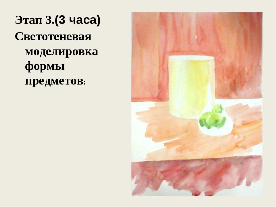 Этап 3.(3 часа) Светотеневая моделировка формы предметов: