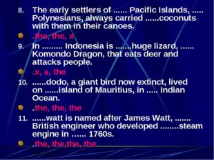 The early settlers of ...... Pacific Islands, ..... Polynesians, always carri