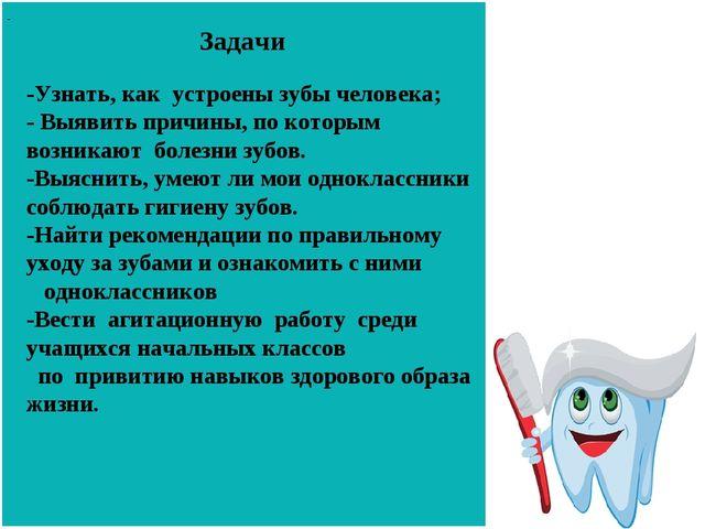 Задачи - - -Узнать, как устроены зубы человека; - Выявить причины, по которы...