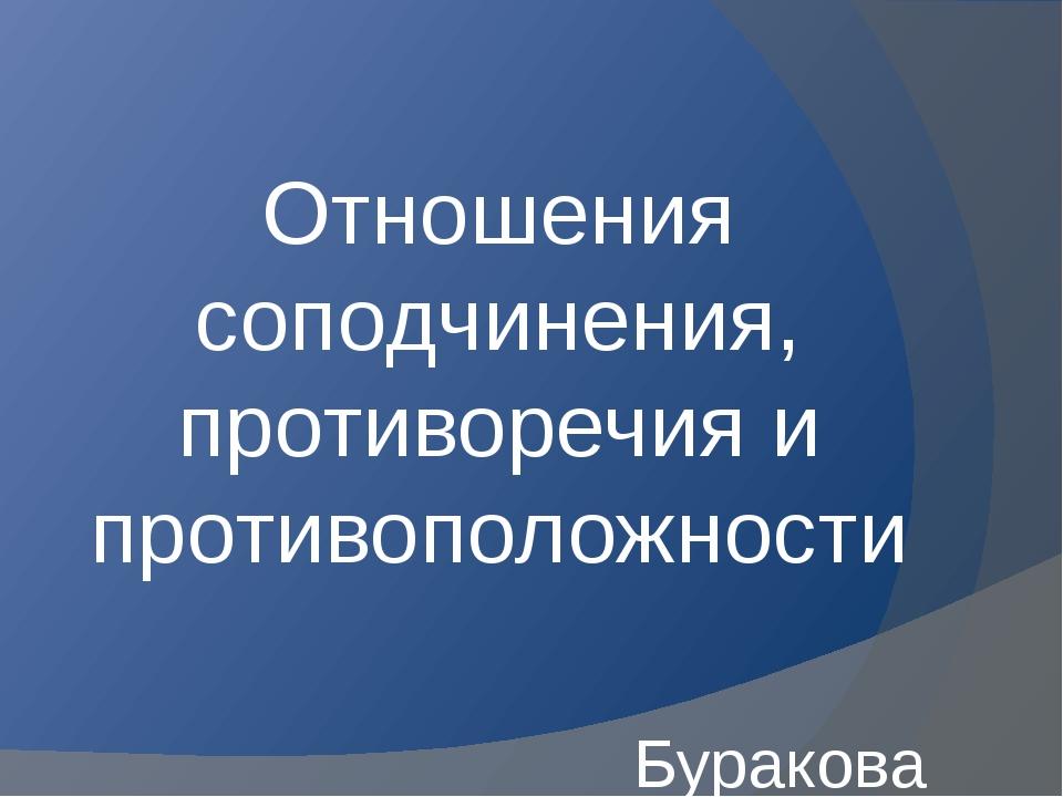 Отношения соподчинения, противоречия и противоположности Буракова К.Б.