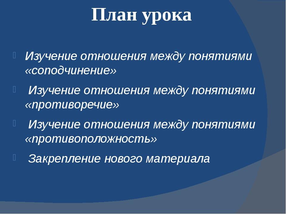 План урока Изучение отношения между понятиями «соподчинение» Изучение отношен...