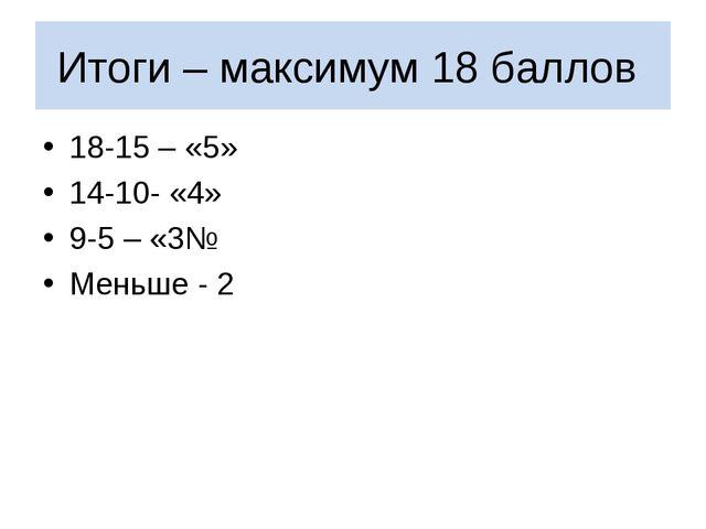 Итоги – максимум 18 баллов 18-15 – «5» 14-10- «4» 9-5 – «3№ Меньше - 2