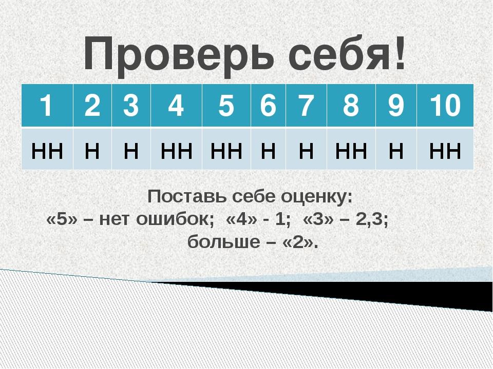 Проверь себя! Поставь себе оценку: «5» – нет ошибок; «4» - 1; «3» – 2,3; боль...