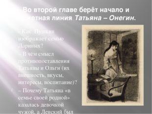 Во второй главе берёт начало и сюжетная линия Татьяна – Онегин. - Как Пушкин
