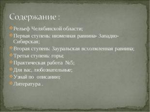 Рельеф Челябинской области; Первая ступень: низменная равнина- Западно- Сибир