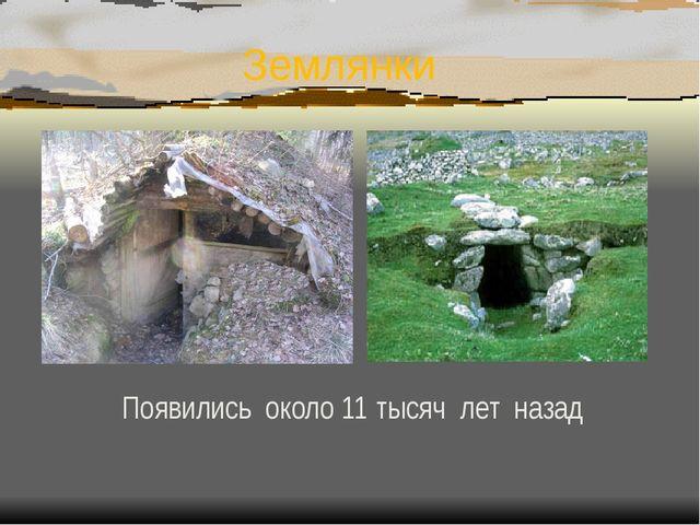 Землянки Появились около 11 тысяч лет назад
