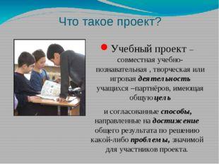 Что такое проект? Учебный проект – совместная учебно-познавательная , творчес