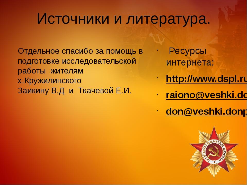 Источники и литература. Ресурсы интернета: http://www.dspl.ru/ raiono@veshki...