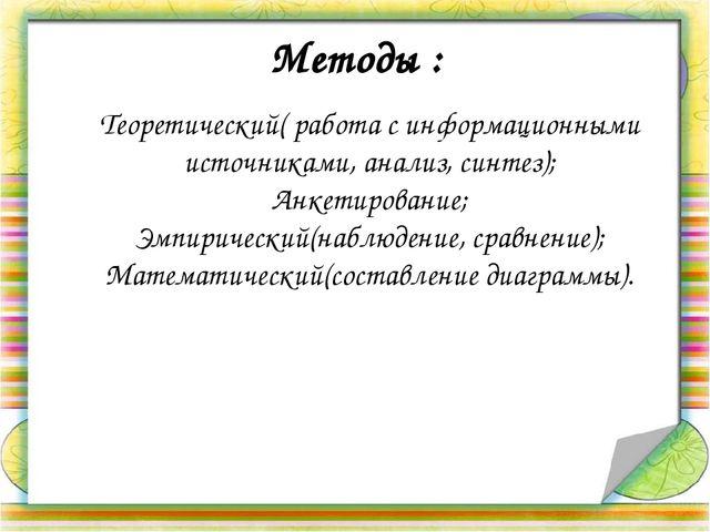 Методы : Теоретический( работа с информационными источниками, анализ, синтез)...