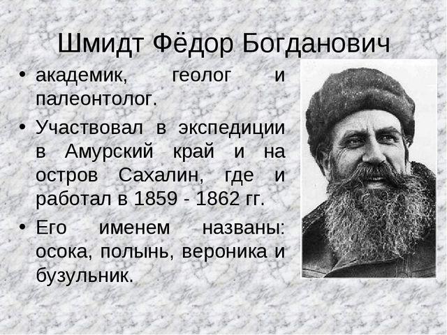Шмидт Фёдор Богданович академик, геолог и палеонтолог. Участвовал в экспедици...