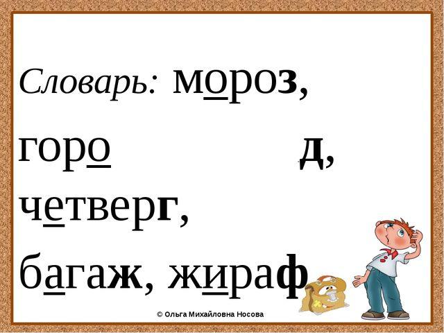Словарь: мороз, горо д, четверг, багаж, жираф ©Ольга Михайловна Носова