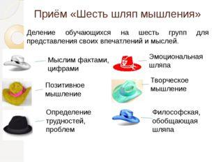 Приём «Шесть шляп мышления» Деление обучающихся на шесть групп для представле