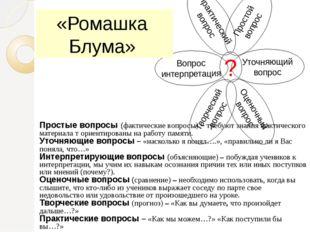 «Ромашка Блума» Простые вопросы (фактические вопросы) – требуют знания фактич
