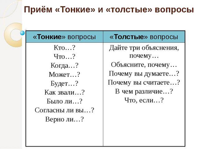 Приём «Тонкие» и «толстые» вопросы «Тонкие» вопросы «Толстые» вопросы Кто…? Ч...