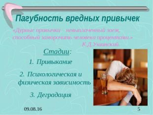 Пагубность вредных привычек «Дурные привычки – невыплаченный заем, способный