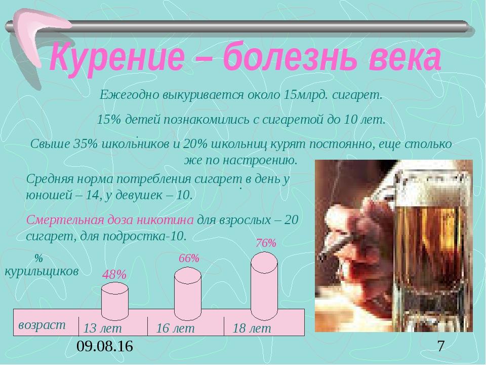 Курение – болезнь века . . Ежегодно выкуривается около 15млрд. сигарет. 15% д...