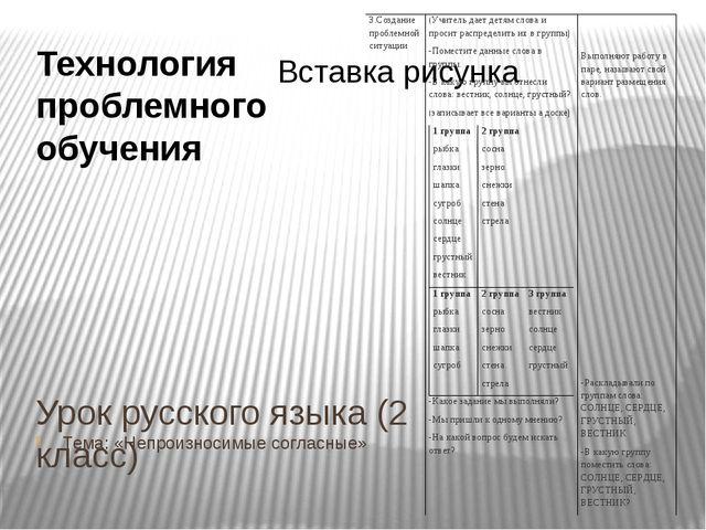 Урок русского языка (2 класс) Тема: «Непроизносимые согласные» Технология про...