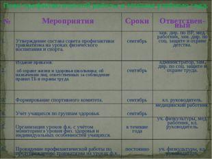 План профилактической работы в течение учебного года. № Мероприятия Сроки