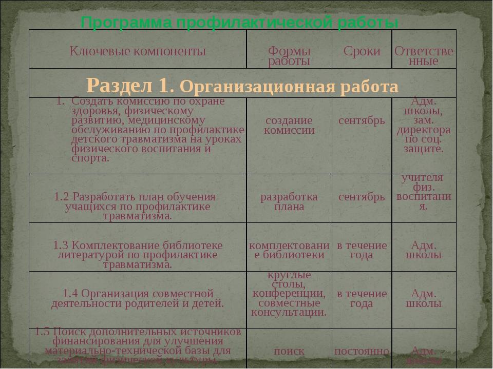 Программа профилактической работы Ключевые компоненты Формы работы Сроки О...