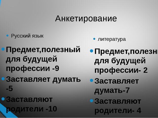 Анкетирование Русский язык Предмет,полезный для будущей профессии -9 Заставля...