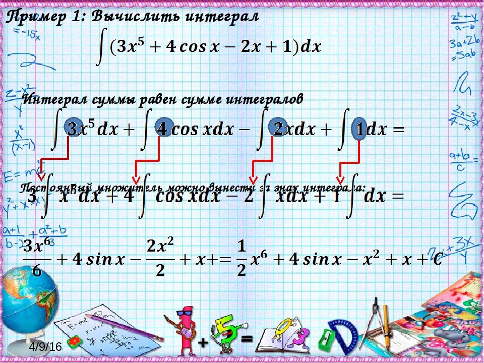 Интеграл суммы равен сумме интегралов Постоянный множитель можно вынести за...