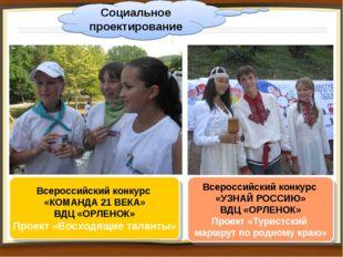 Социальное проектирование Всероссийский конкурс «КОМАНДА 21 ВЕКА» ВДЦ «ОРЛЕНО