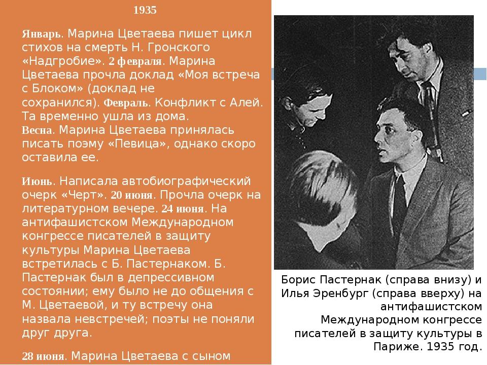 1935 Январь. Марина Цветаева пишет цикл стихов на смерть Н. Гронского «Надгр...