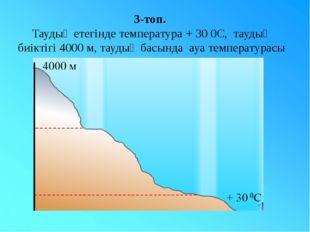 3-топ. Таудың етегінде температура + 30 0С, таудың биіктігі 4000 м, таудың ба