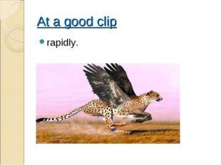 At a good clip rapidly.