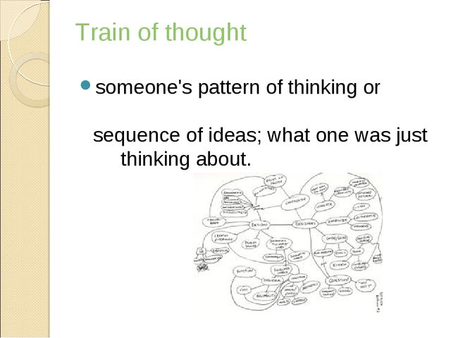 Train of thought someone'spatternofthinkingor sequenceofideas;whaton...