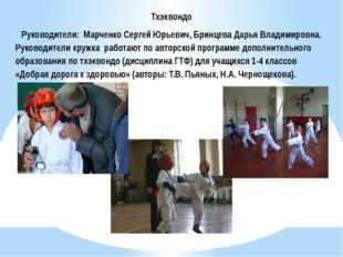 Тхэквондо Руководители: Марченко Сергей Юрьевич, Бринцева Дарья Владимировна.