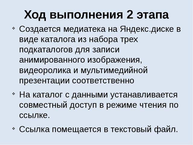 Ход выполнения 2 этапа Создается медиатека на Яндекс.диске в виде каталога из...