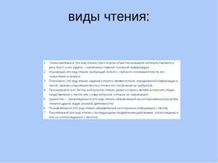 виды чтения: