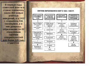 В первые годы советской власти в стране появилось около 450 новых учебных за